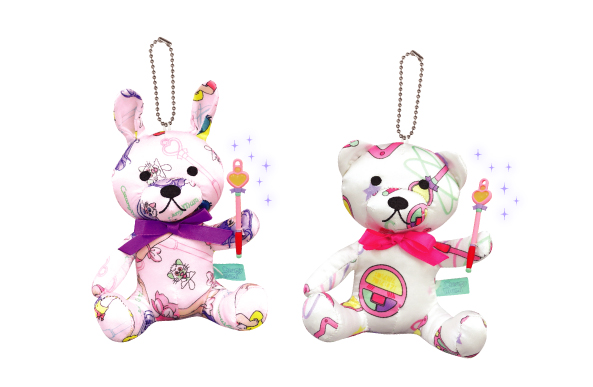Bunny and bear plushes